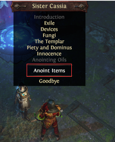 Where to Anoint an item